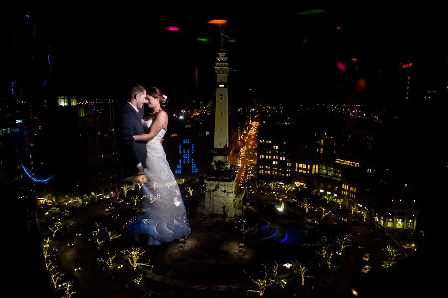 Stunning and epic portrait of wedding couple in front of Monument Circle Indianapolis