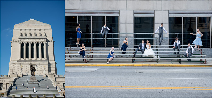 Fun, quirky, and urban Minimalist bridal party shots at Indianapolis War Memorial Downtown