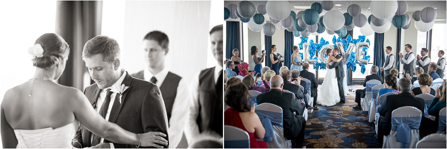 Touching ceremony photography from Sheraton Ballroom wedding in Indianapolis