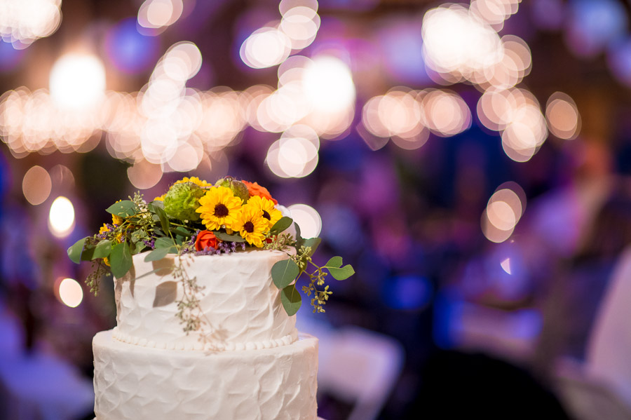 colorful, bright, artsy photo of wedding cake in Brown County, Indiana