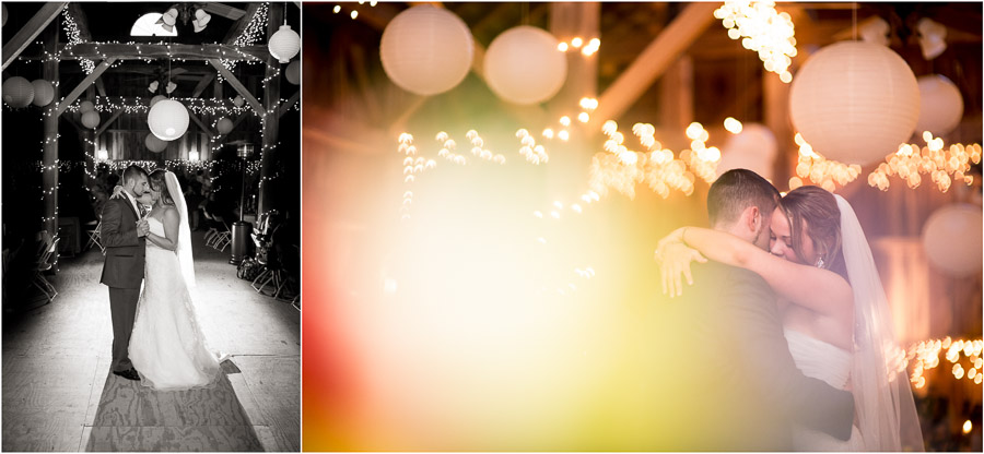 Romantic and beautiful first dance photos at rustic farm wedding near Bloomington, Indiana