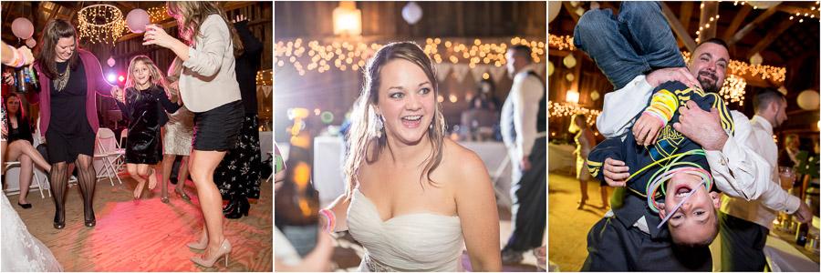 Fun, quirky dancing photos at Brown County, Indiana wedding