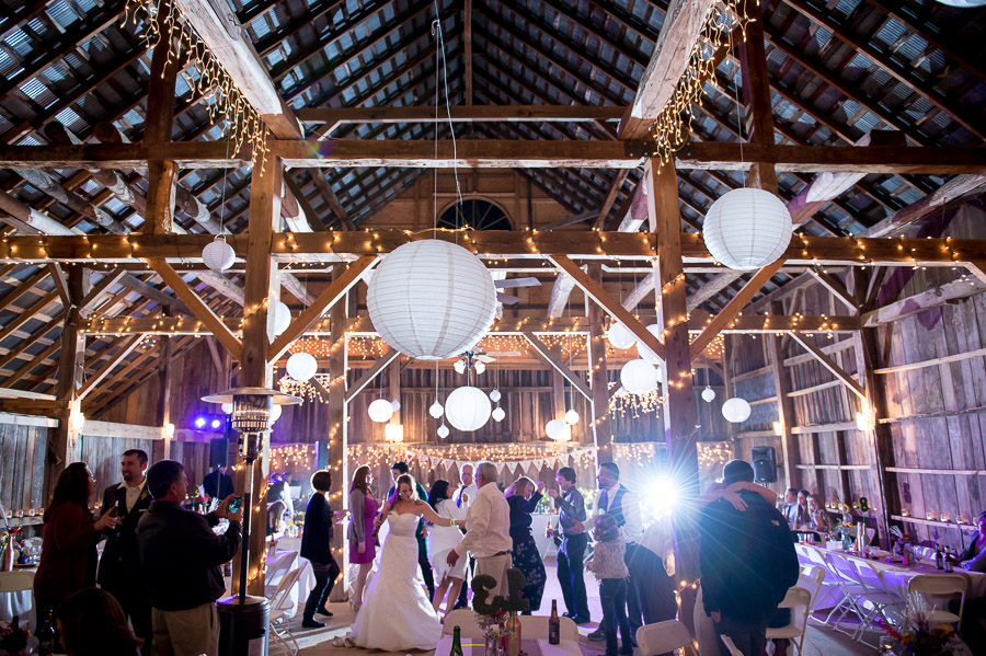 Fun, relaxed, wild dance floor pics from Brown County Indiana wedding