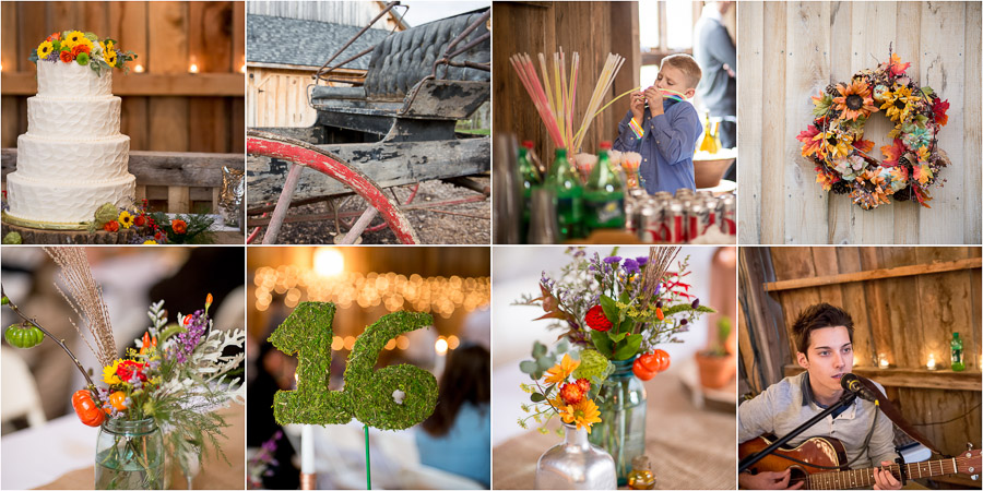 Bright, colorful, Fall wedding details at the Heritage House in Nashville, Indiana