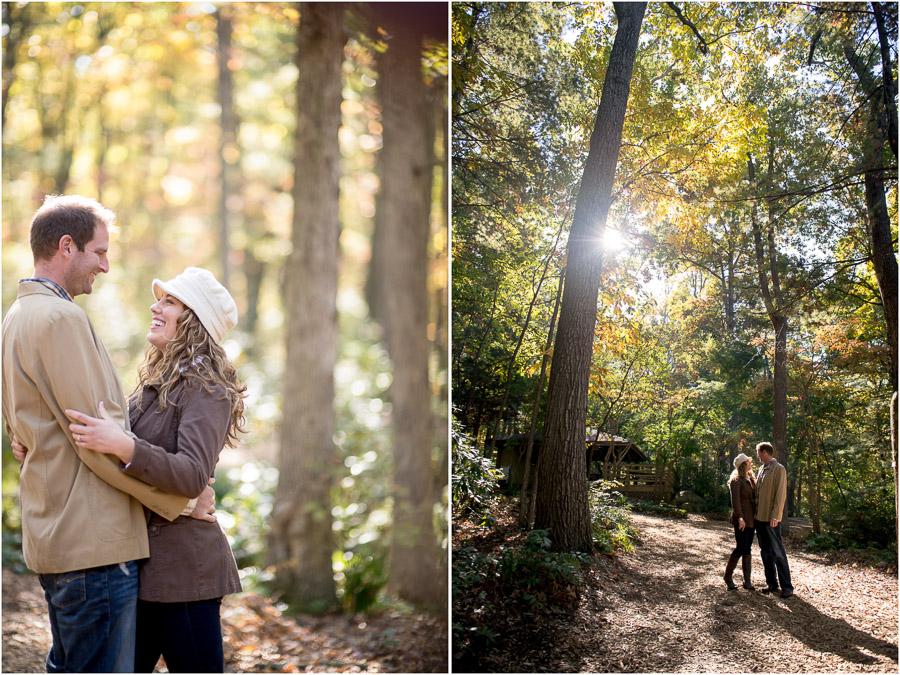 outdoor engagement photos in JMU arboretum in Harrisonburg, VA