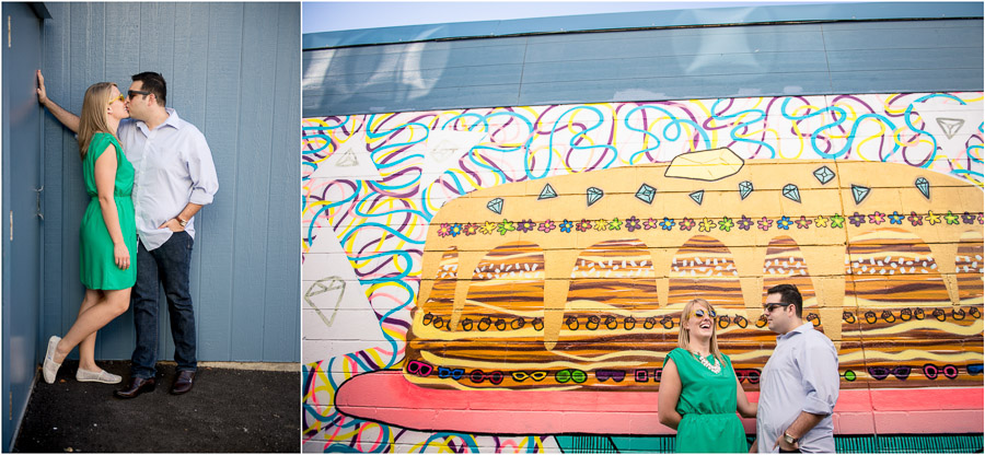 Colorful, quirky, downtown Bloomington engagement photos