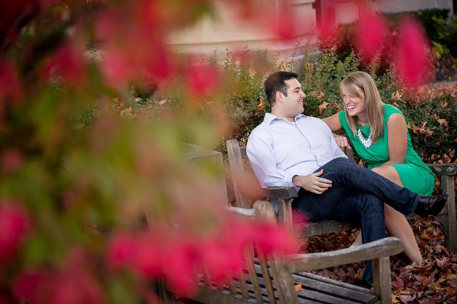 Fun, bright, engagement portraits on court square in Bloomington