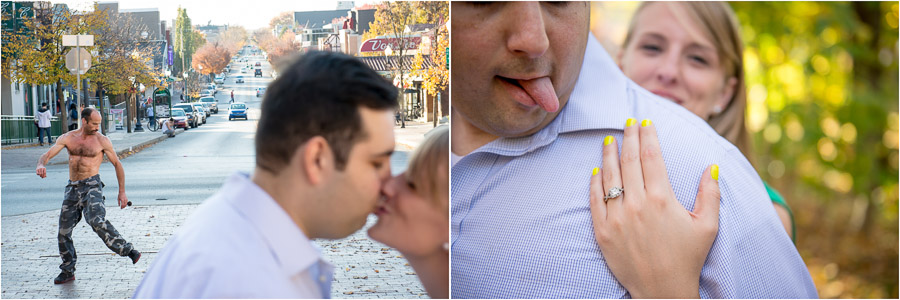 Hilarious, silly, engagement photos on Kirkwood in Bloomington, Indiana