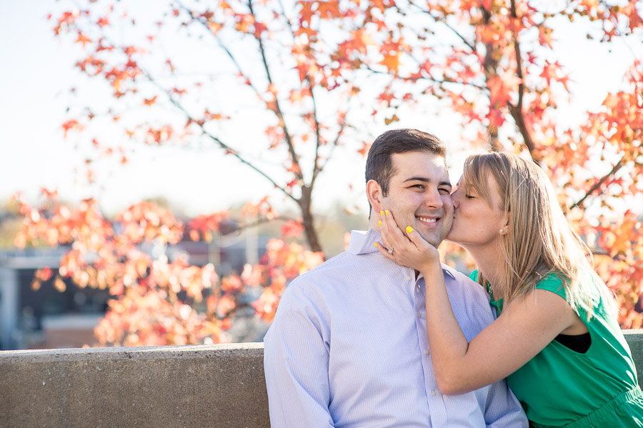 Beautiful fall engagement pics in downtown Bloomington, Indiana