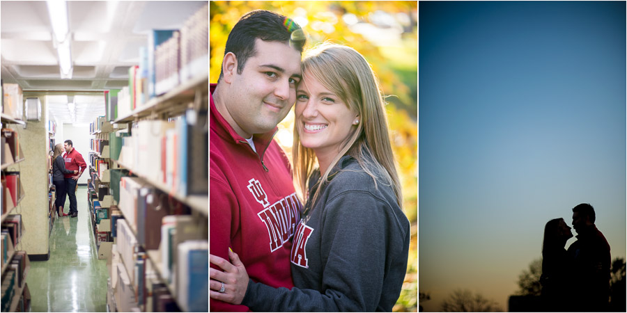artsy and fun Indiana University engagement photos at Wells library