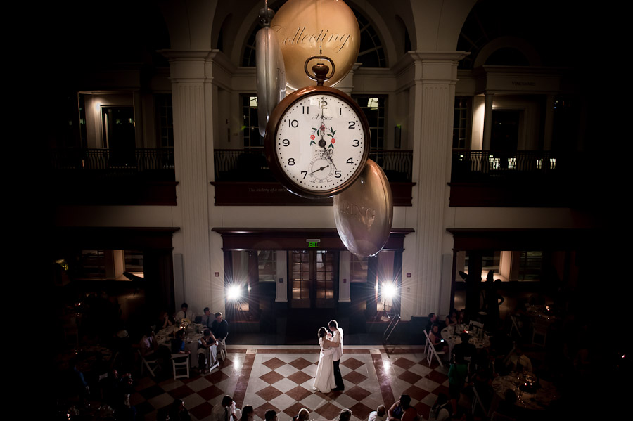 Romantic and dramatic first dance photograph at Indiana Historical Society