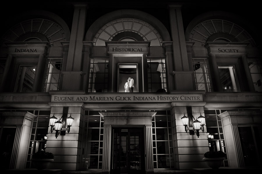 Romantic and dramatic epic portrait of bride and groom in downtown Indianapolis