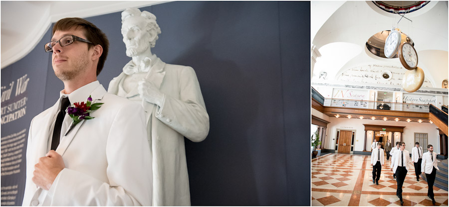 Funny portrait of groom with Abraham Lincoln at Indiana Historical Society ballroom