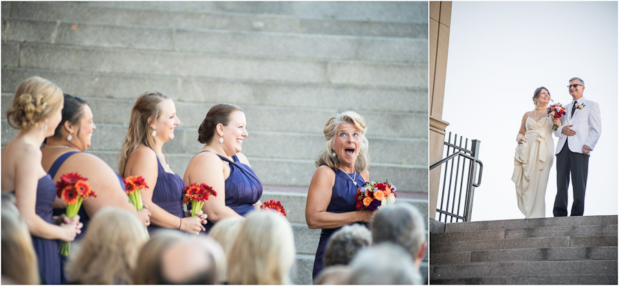 Cute expressions from mother of bride maid of honor and father and bride in ceremony
