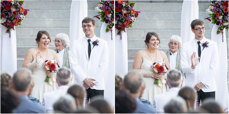 Cute and sweet moment during wedding ceremony at Indiana Historical Society