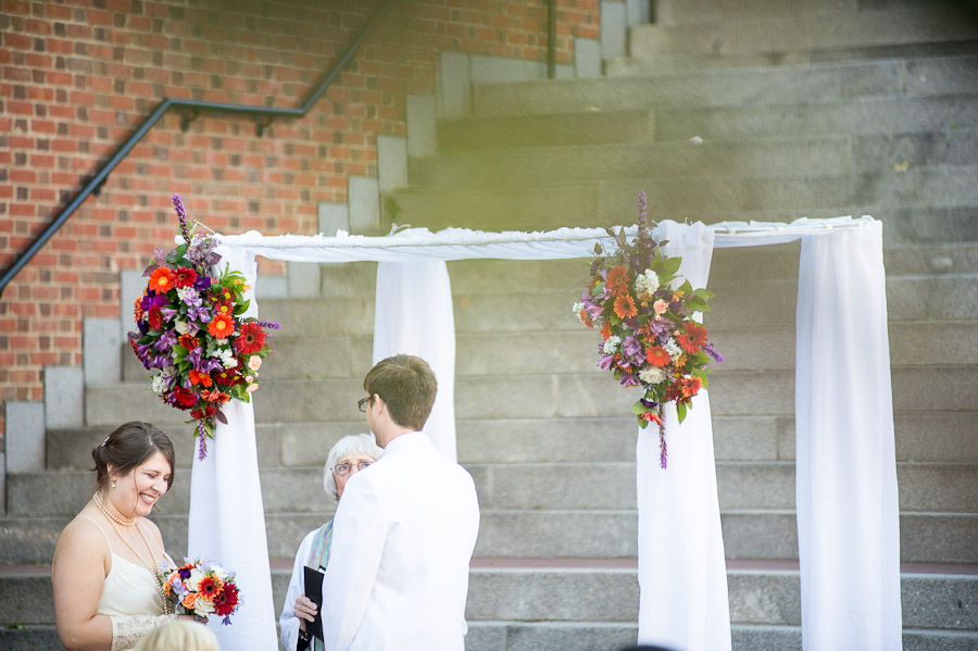 Colorful outdoor fall wedding in Indiana