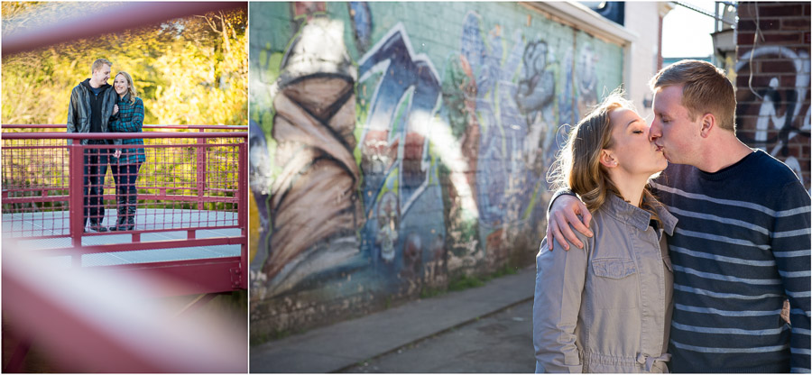 Colorful Fall engagement photos in Broad Ripple, Indiana
