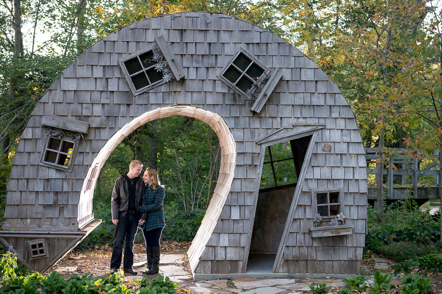Quirky and funky engagement photos at Monon Art Center in Indy