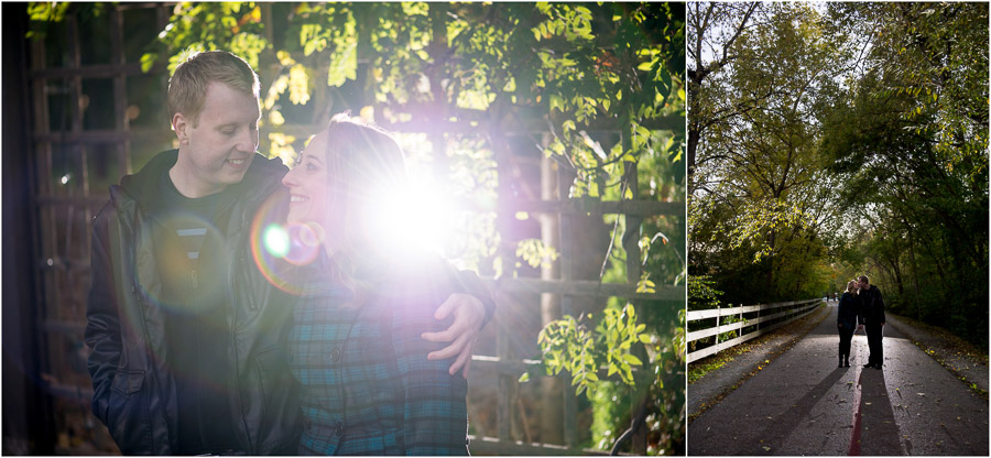 Fun engagement photos on Monon Trail in Indy, Indiana