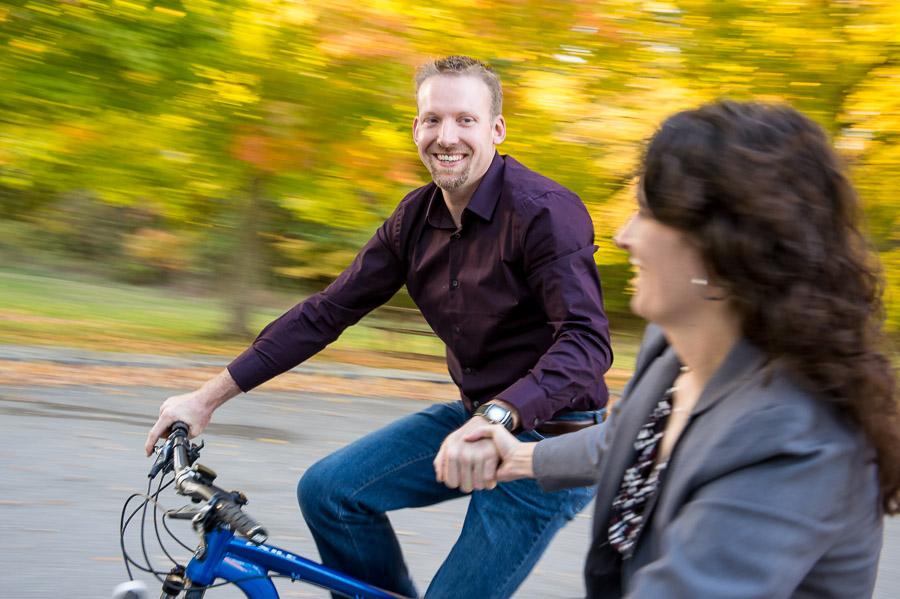 Panning bicycle engagement photo