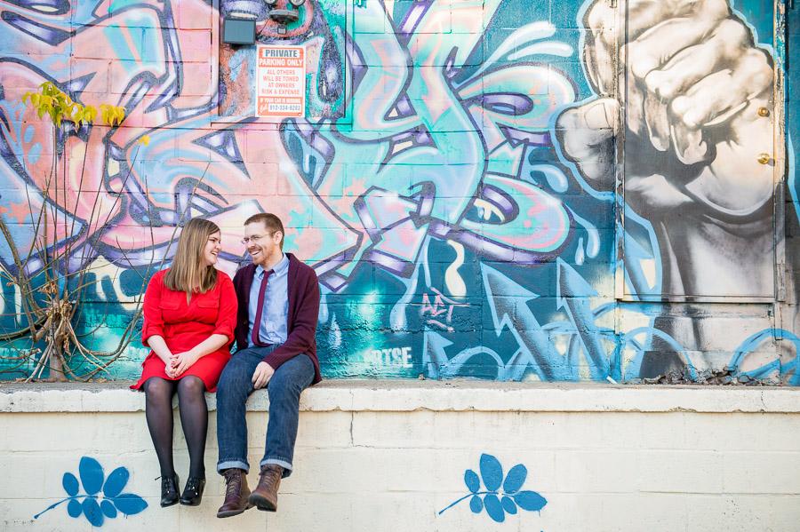 Bloomington engagement photography graffiti