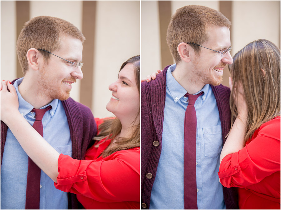 Sweet laughing moment during engagement shoot