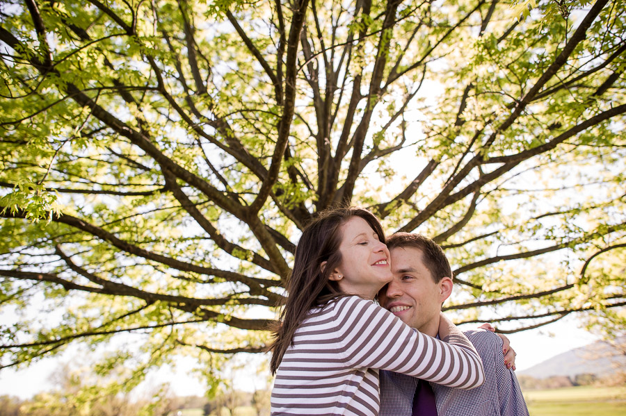 Engagement photos with trees