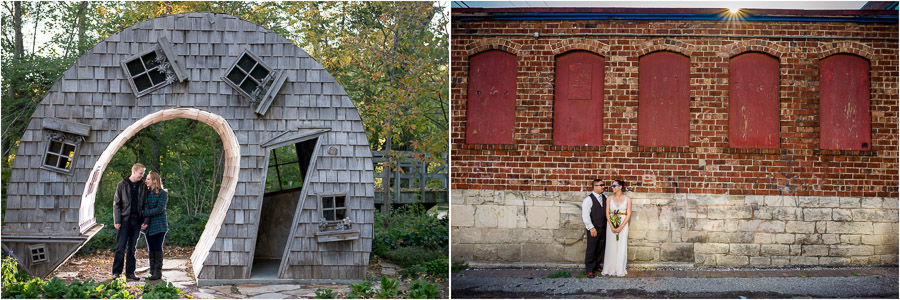 creative and cool buildings in engagement photos