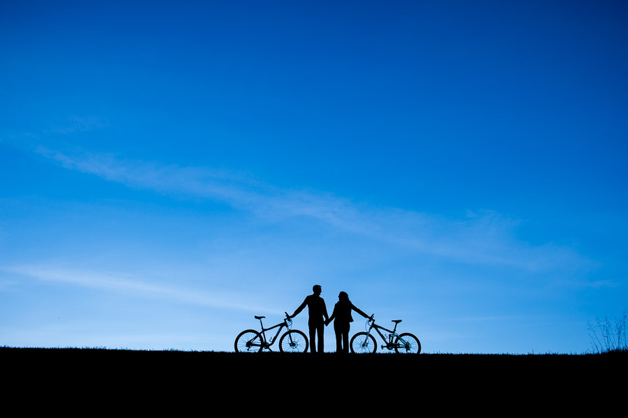 bike silhouettes engagement photography hip cool colorful bloomington indiana