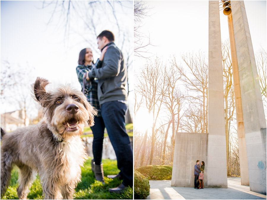 hilarious dog in engagement photos