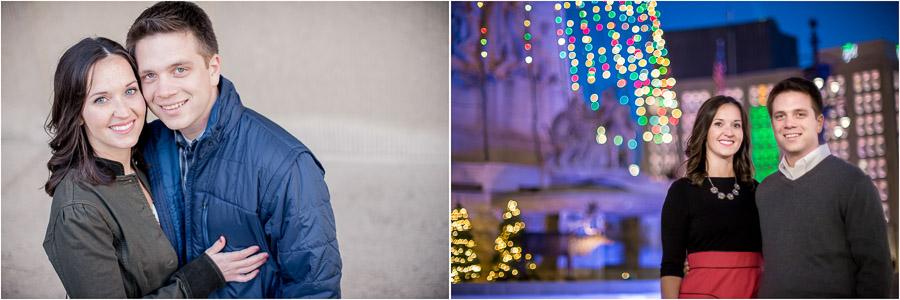 holiday season engagement photos christmas lights downtown indianapolis