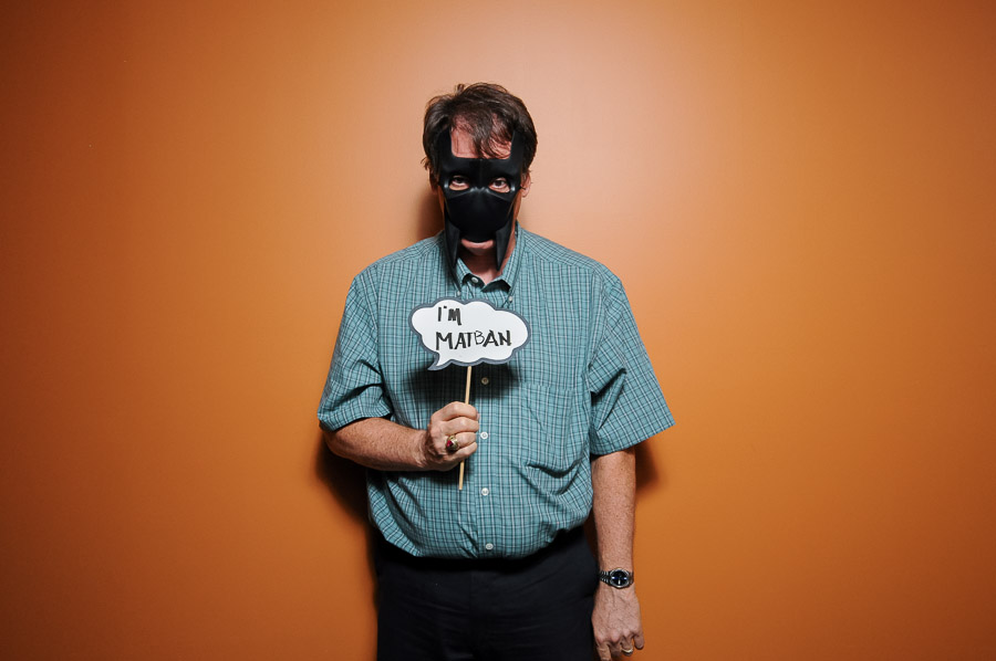Comical and silly photobooth photo of Batman from party at Upland Brewery