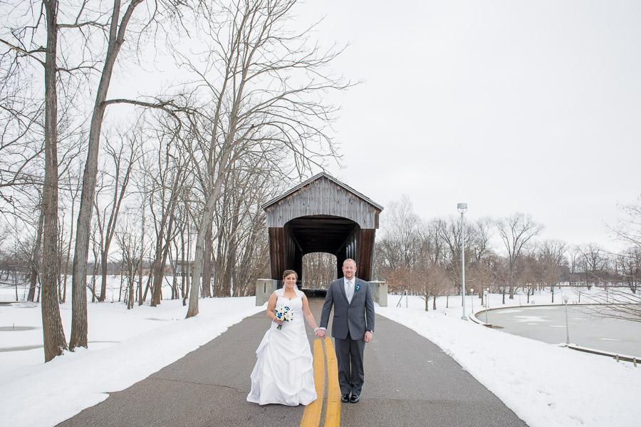 Mill Race Park Covered Bridge Wedding Photos