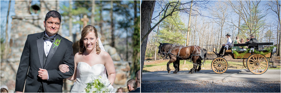 Beautiful wedding couple in horse drawn carriage