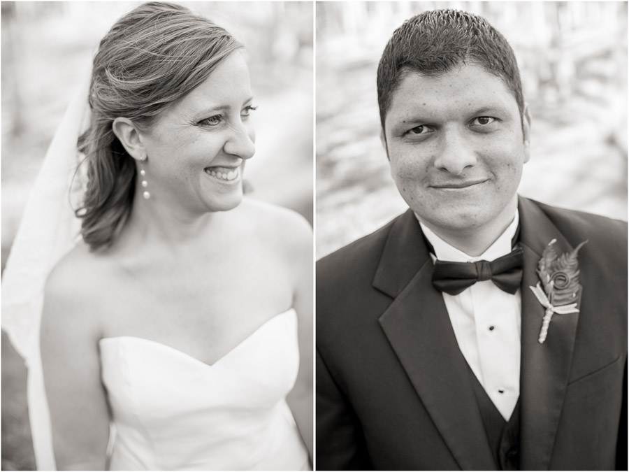 Gorgeous black and white headshots of bride and groom