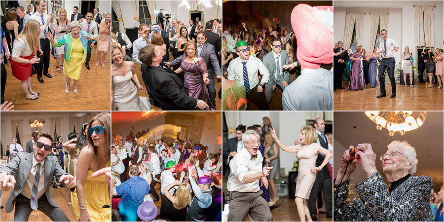 Fun, vibrant, wild dance floor pics from a summer Shrine Mont wedding