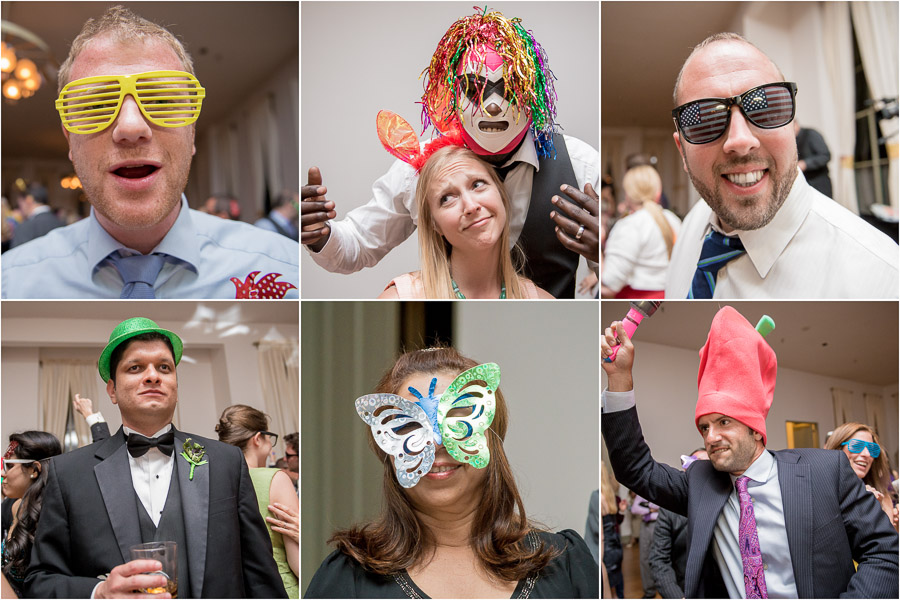 Fun photos of wedding guests with crazy hats and props