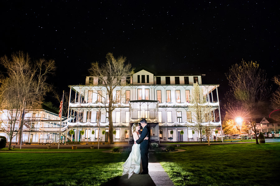 Romantic, creative, nighttime wedding portrait at Shrine Mont, Virginia