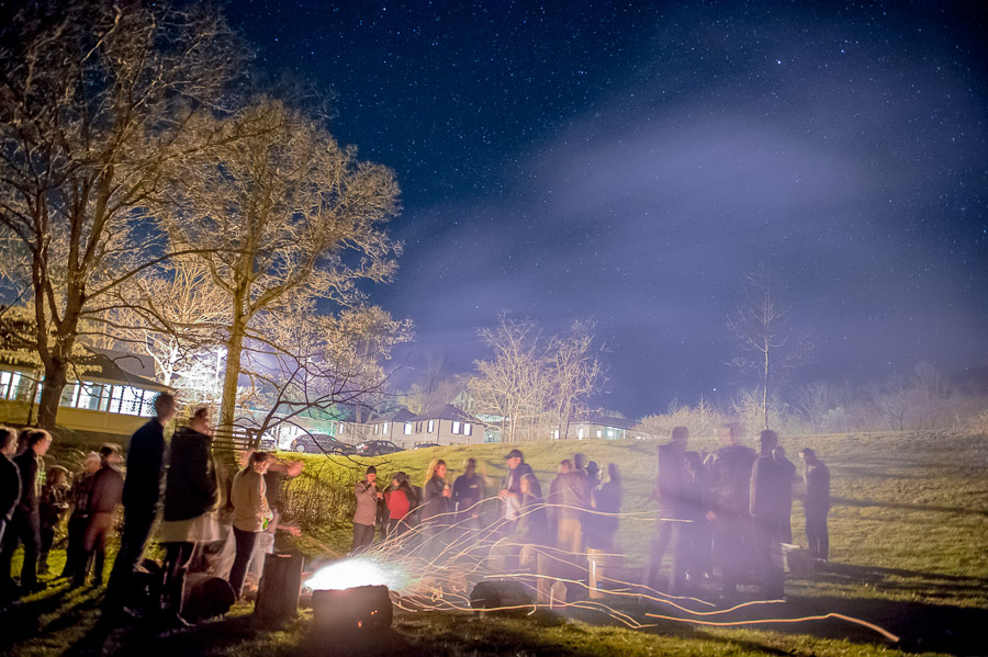 gorgeous nighttime shot at a bonfire at Shrine Mont, Virginia