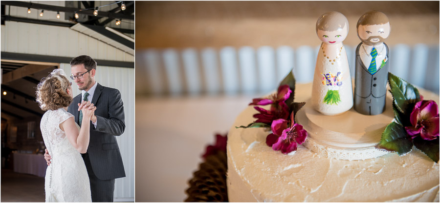 Fun first dance photo and sweet and artistic wedding cake in Bloomington Indiana