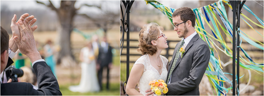 Fun, lively, colorful wedding ceremony moment in Bloomington Indiana