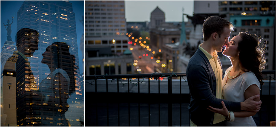 Creative, Hip, and Urban Engagement Photos in Downtown Indianapolis, Monument Circle