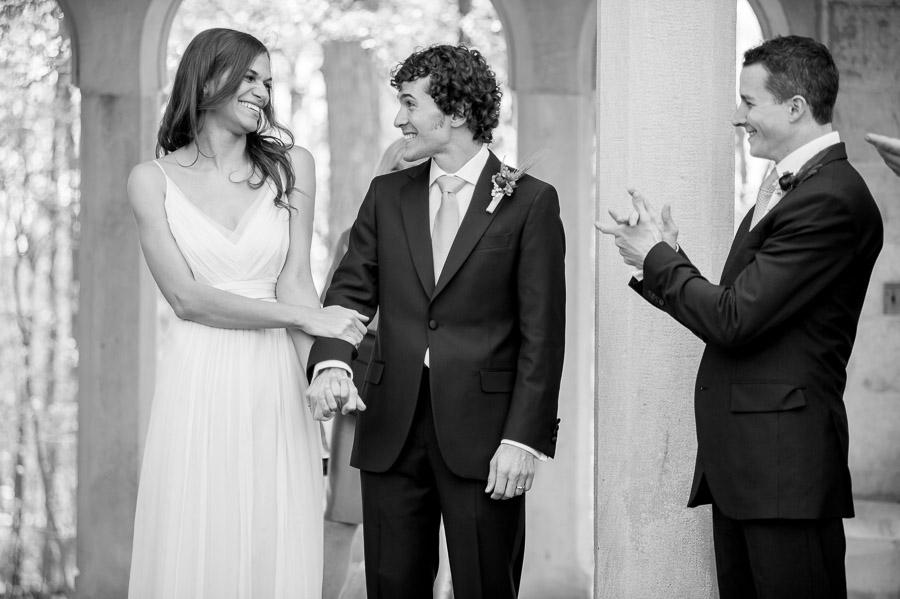 Sweet wedding photo after Indiana University campus ceremony