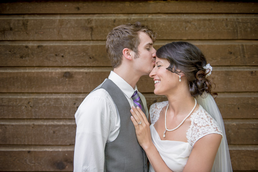 Sweet moment after first look at Brown County Indiana wedding.