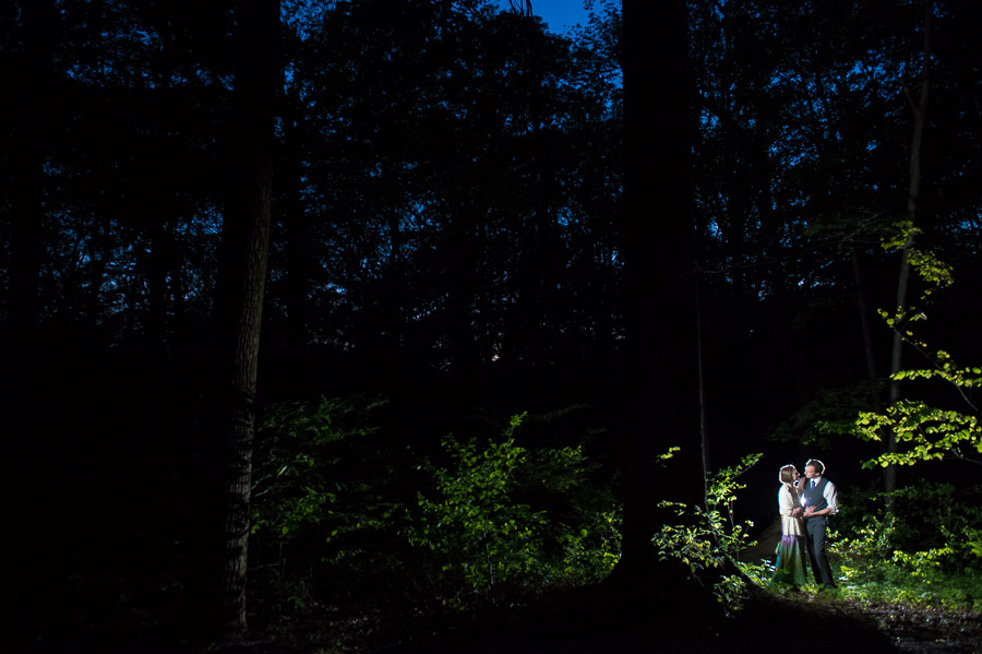Cool nighttime wedding photography