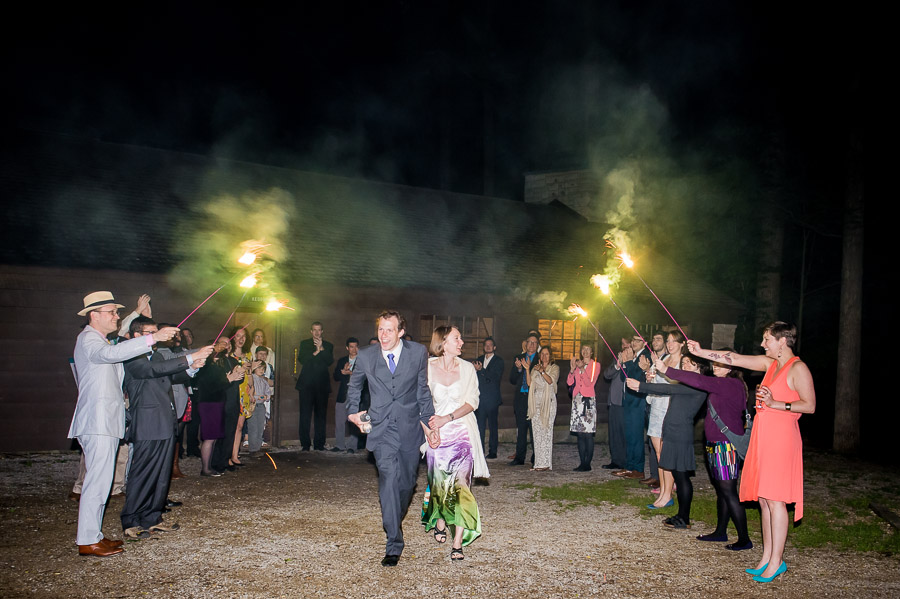 Outdoor sparkler exit at McCormick's Creek State Park wedding
