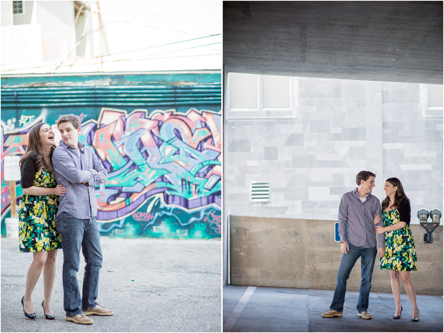 colorful, fun downtown Indiana engagement photos
