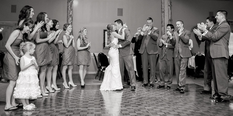 touching, sweet wedding bridal party moment at purgatory golf club indiana