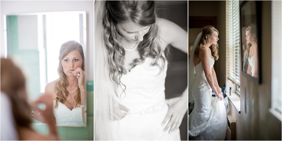 Sweet, funny and quirky moments of bride at Immaculate Heart of St. Mary at Indy wedding