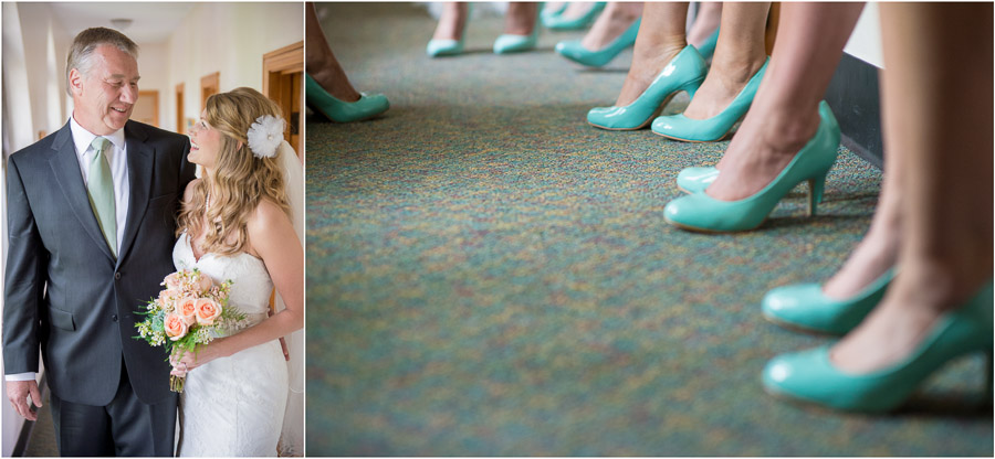 Sweet father daughter moment and bright aqua shoes at teal and grey wedding in Indiana